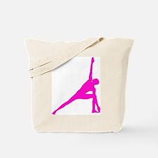 Bikram Yoga Triangle Pose in Pink Tote Bag