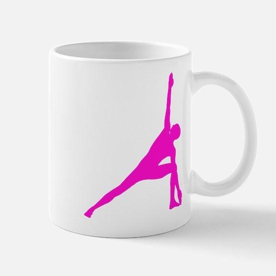 Bikram Yoga Triangle Pose in Pink Mug