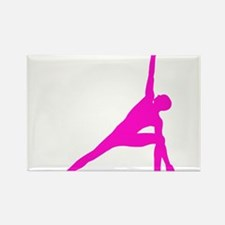 Bikram Yoga Triangle Pose in Pink Rectangle Magnet