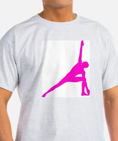 Bikram Yoga Triangle Pose in Pink T-Shirt