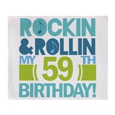 59th Birthday Rock and Roll Throw Blanket