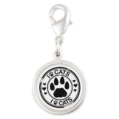 I Love Cats - Paw Print Silver Round Charm