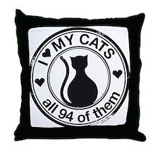 94 cats Throw Pillow
