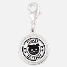 Crazy Cat Lady Silver Round Charm