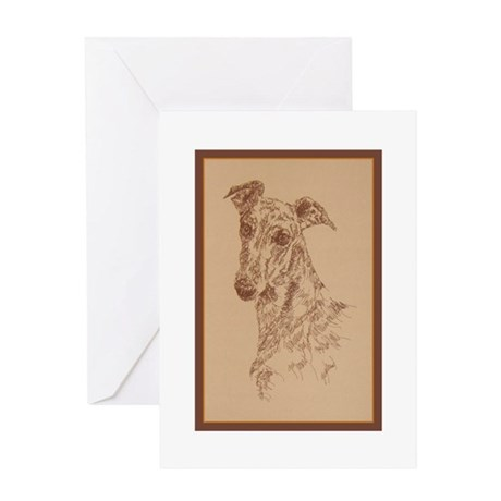 Greyhound_Fawn_Kline Greeting Cards