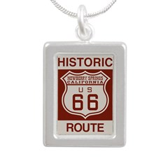 Newberry Springs Route 66 Silver Portrait Necklace