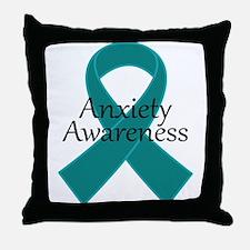 Anxiety Awareness Ribbon Throw Pillow