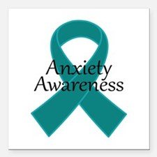 "Anxiety Awareness Ribbon Square Car Magnet 3"" x 3"""