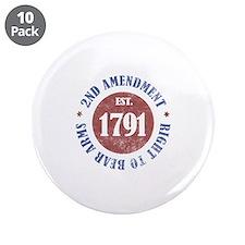 """2nd Amendment Est. 1791 3.5"""" Button (10 pack)"""