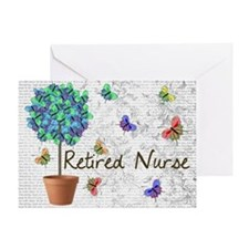 Retired Nurse Pillow 7 butterflies Greeting Card
