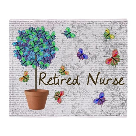 Retired Nurse Pillow 7 butterflies Throw Blanket