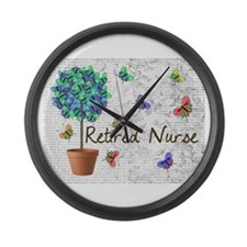 Retired Nurse Pillow 7 butterflies Large Wall Cloc