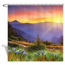 Mountain Meadow Sunset Shower Curtain