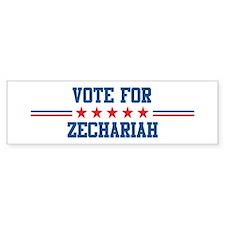 Vote for ZECHARIAH Bumper Bumper Sticker
