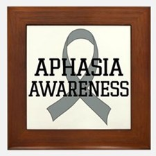 Aphasia Awareness Gray Ribbon Framed Tile