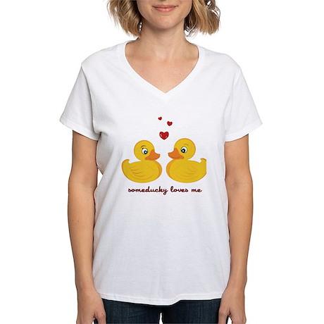 Someducky Loves Me Women's V-Neck T-Shirt