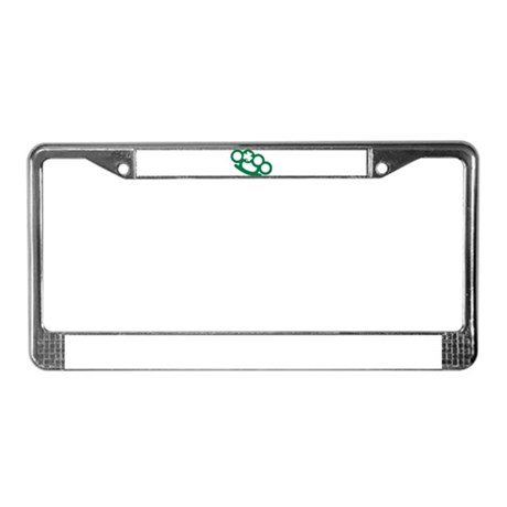 Brass knuckles shamrock irish License Plate Frame