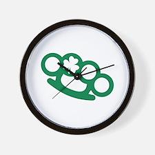 Brass knuckles shamrock irish Wall Clock