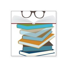 "Stack Of Books Square Sticker 3"" x 3"""