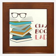 Crazy Book Lady Framed Tile