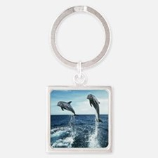 Dolphins In The Ocean Square Keychain