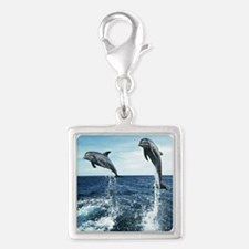 Dolphins In The Ocean Silver Square Charm
