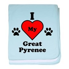 I Heart My Great Pyrenee baby blanket