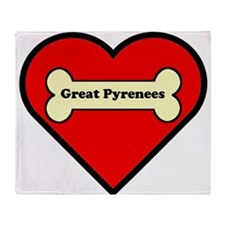 Great Pyrenees Heart Throw Blanket