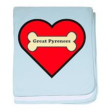 Great Pyrenees Heart baby blanket