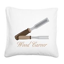 Wood Carver Square Canvas Pillow