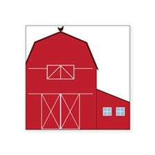 "Red Barn Square Sticker 3"" x 3"""
