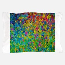 Rainbow Fields - Abstract Acrylic Painting Pillow