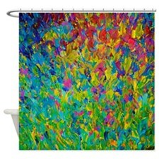Rainbow Fields - Abstract Acrylic Painting Shower