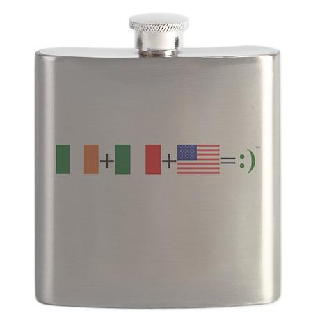 Happy Irish Italian American Flask