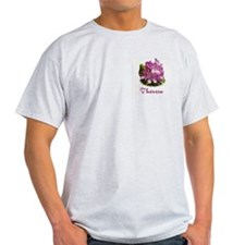 Theresa: Purple Flower Ash Grey T-Shirt