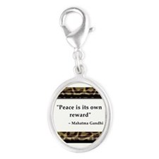 Gandhi - Peace is its own reward Silver Oval Charm