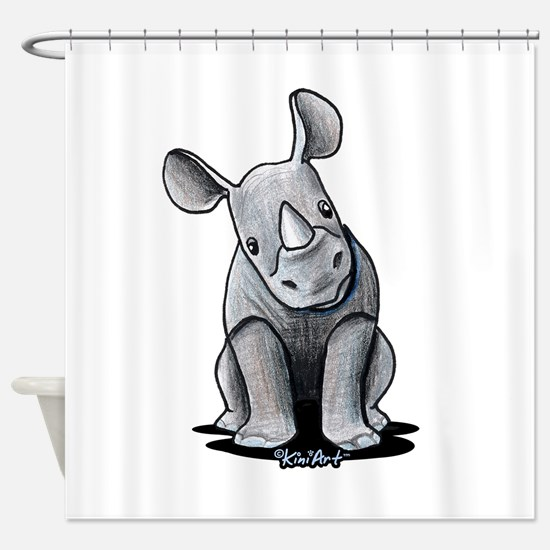 Cute Rhino Shower Curtain
