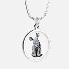 Cute Rhino Silver Round Necklace