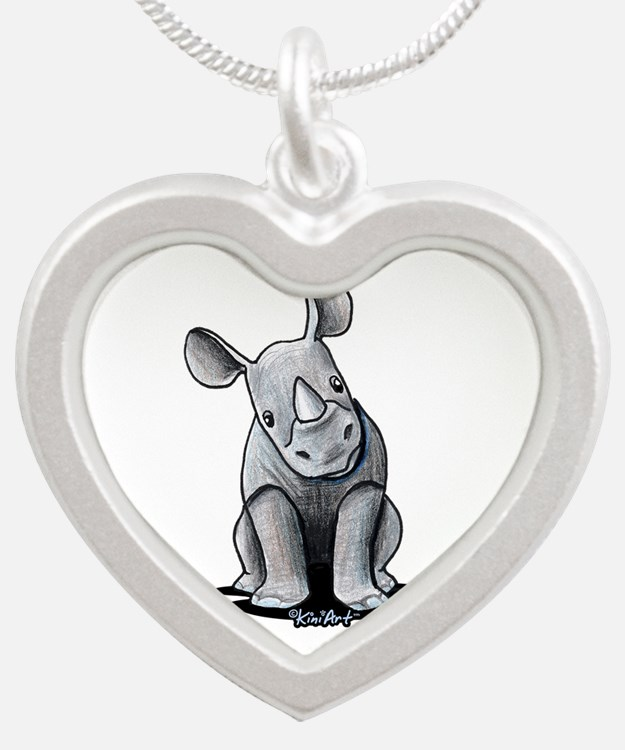 Cute Rhino Silver Heart Necklace