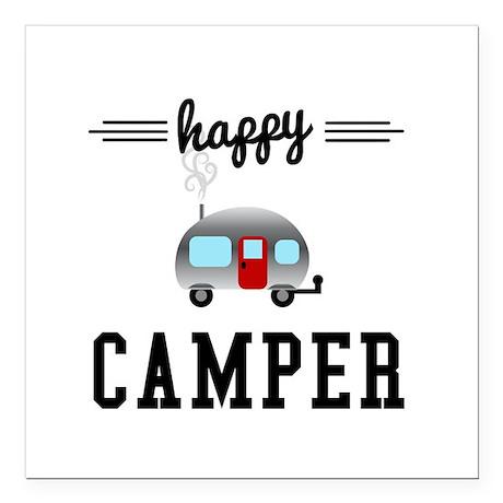 "Happy Camper Square Car Magnet 3"" x 3"""