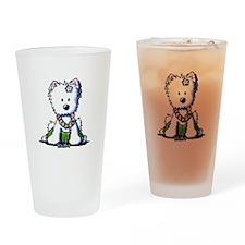 Hula Girl Westie Drinking Glass