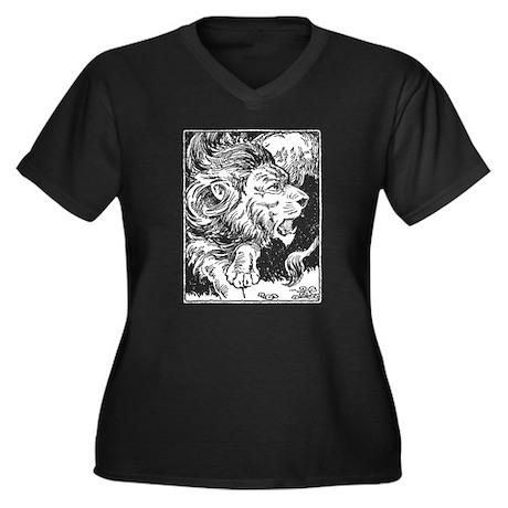 Lion on dark Women's Plus Size V-Neck Dark T-Shirt