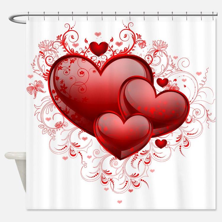 Floral Hearts Shower Curtain - Valentine Shower Curtains Valentine Fabric Shower Curtain Liner