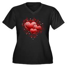 Floral Hearts Women's Plus Size V-Neck Dark T-Shir