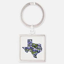 Texas Bluebonnets Square Keychain