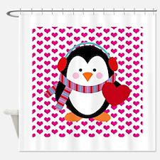 Valentines Day Penguin Shower Curtain