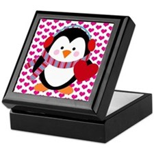 Valentines Day Penguin Keepsake Box