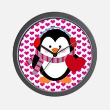 Valentines Day Penguin Wall Clock
