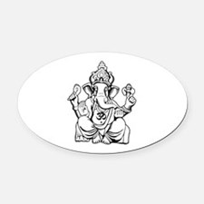 Lord Ganesha Lines Oval Car Magnet