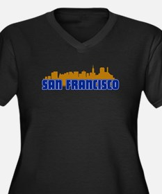 San Francisco Skyline Women's Plus Size V-Neck Dar